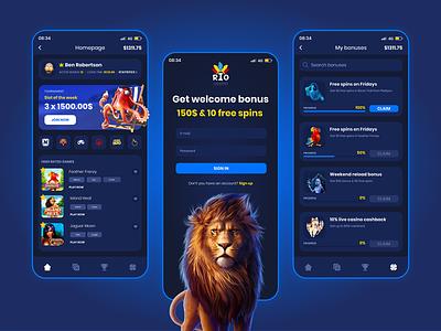 Online Casino - Mobile gambling online casino dark ux blue ui design