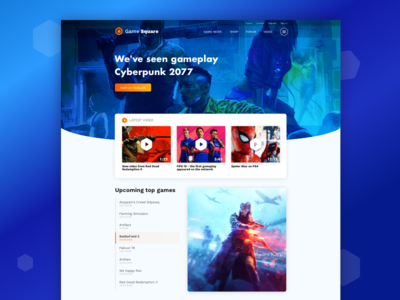 Game Portal Home Page page landing orange blue design portal game