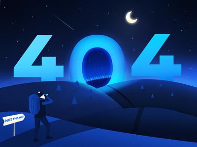 Mysterious night - page 404 moon portal night dark illustration design blue