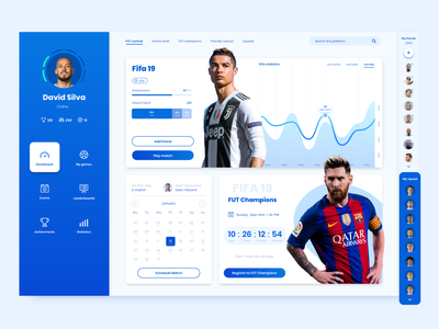 FIFA Tracking App football fifa game ux app ui dark blue design
