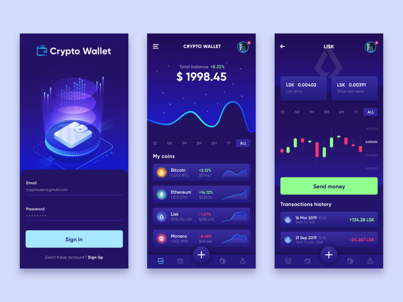 Cryptocurrency Wallet App charts money wallet crypto ux illustration app dark ui blue design