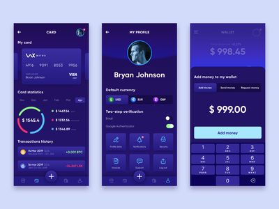 Cryptocurrency Wallet App 2 crypto currency crypto charts wallet money ux app dark ui blue design
