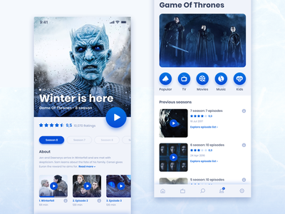 Movie App GOT Edition movie thrones of game ux app dark ui blue design