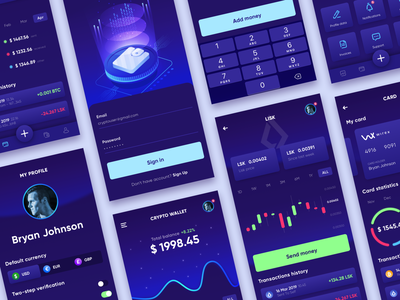 FREE - Cryptocurrency Wallet App 3 vector money crypto charts ux app dark ui blue design