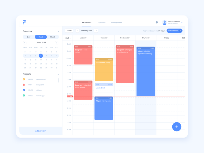 Timetracker App ux design ui blue timesheets timetracker