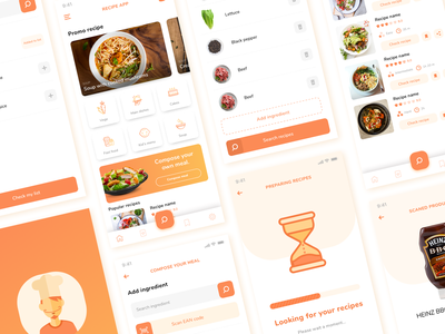 FREE - Recipe App Design Concept recipe app recipe orange app ux ui design