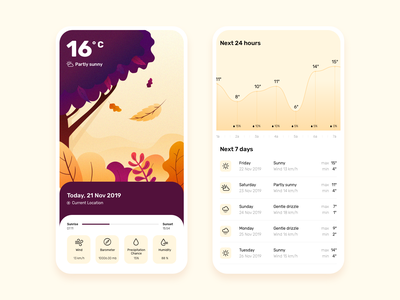 Weather app autumn weather vector orange illustration app ux ui design