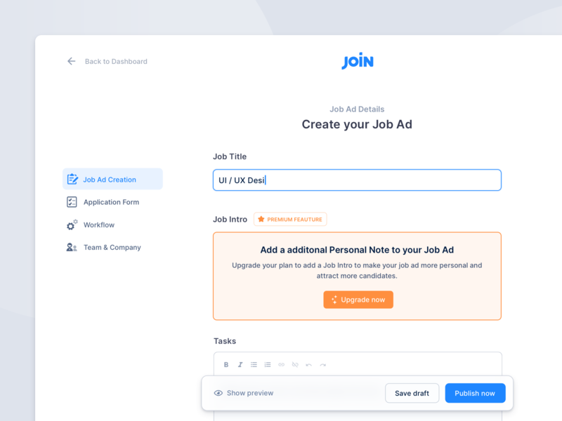 Hiring Platform – Job Ad Creation web app user interface inputs settings hiring board modern clean wizard job ad ui  ux interface intuitive creation funnel flow interaction