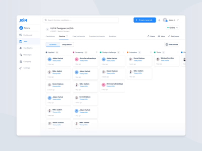 Candidate Pipeline – Hiring Platform intuitive interactive job tool backend management cards flow experience user interface ux ui clean candidates pipeline dashboard hiring animation