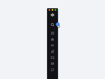 Expandable Sidebar Navigation – Stocklabs sidebar menu interaction hover concept navigation expandable behavior ux ui user interface stocks web app desktop design app