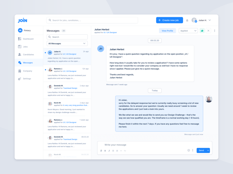 Hiring Platform – Messages / Chat communication light tool web app hiring platform clean messages ux ui user interface experience chat modern creation actions dashboard overview contact