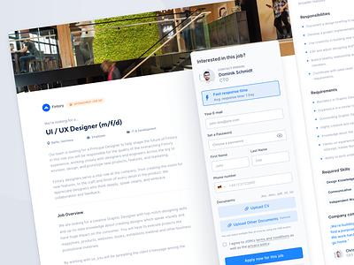 Hiring Platform – Job Application Page join hiring platform webapp website header experience user interface ux ui modern minimalistic simple action sheet cards application tool hiring platform clean actions
