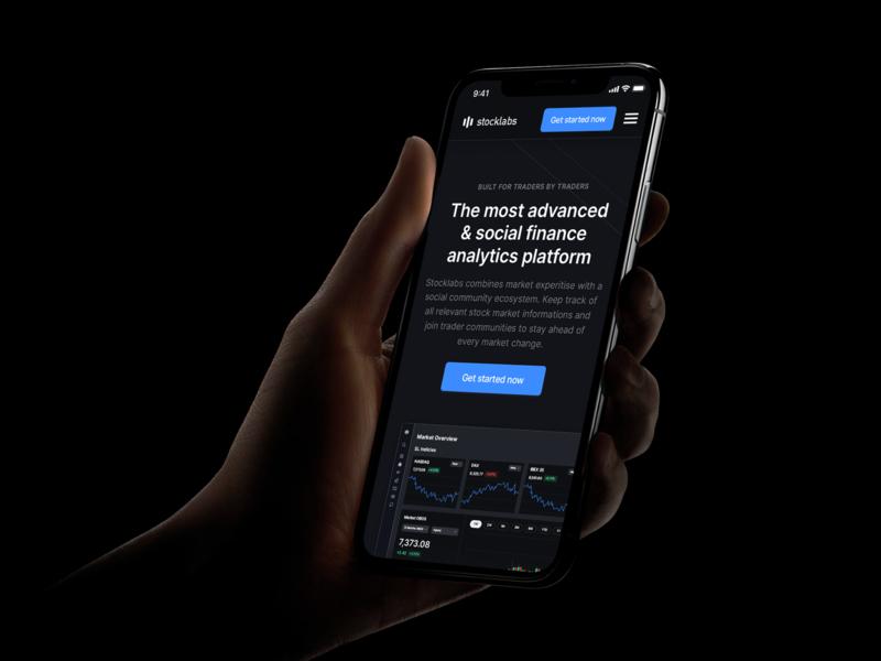 Stocklabs – Mobile Website web app mobile product user experience mode dark minimalistic modern interaction watchlists stock market finance ux ui website app market graphs analytics stocks