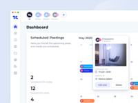 Social Media Management Tool – Dashboard design usercentered interactive edit scheduling calendar light minimal cards graphs user interface ux ui dashboard social media