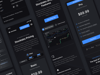 Stocklabs – Mobile Web Screens interactive tabs stocklabs stocks mobile ui web app graph finance features dark mode cards pricing mobile analytics modern clean minimal ux ui