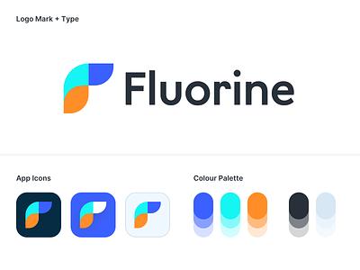 Logo Concept – Fluorine productivity tool multicolor flashy saas product branding design minimalistic flat simple sleek modern clean light logo