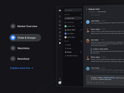 Feature Section Detail – Stocklabs newsfeed market watchlist chats graphs analytics stocks stocklabs live demo tabs dark mode web app webdesign section feature modern dark minimal ux ui