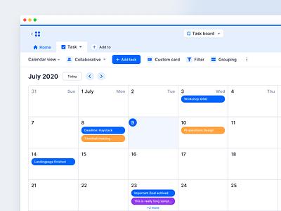 Calendar View – HIPA Cloud clean web app modern tool toggle view interactive cutomizable saas air table work table tags view calendar minimal ux ui