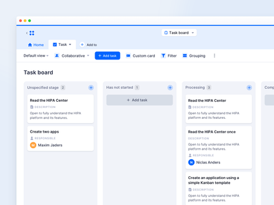 Kanban Board – HIPA Cloud user centered user interface users pipeline stages intuitive user experience interface air table tables management tasks cards kanban board product modern light minimal ux ui