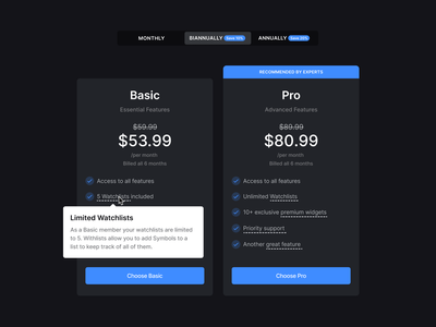 Stocklabs – Pricing Cards subscription benefits user interface recommendation discount memberships stocks dark mode tooltip models pricing cards toggle switcher simple modern clean minimal ux ui