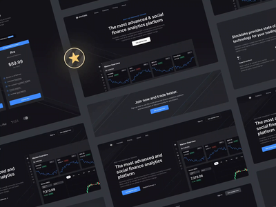 Stocklabs – Web Screens trader analytics dark ui stocklabs icons emblems statistics landingpage theme mode dark stocks cards minimalistic sleek modern clean minimal ux ui