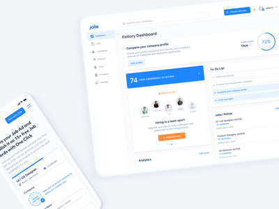 JOIN – Hiring Platform hr management teambuilding promote company profiles dashboard upgrade simple app team hiring join webapp modern light clean minimal ux ui