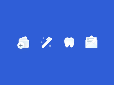 Dentist App Icons – Dently illustration design medical dental envelope tooth toothbrush wallet iconset 3d icons apple user experience ux ui modern minimal app design 3d neomorphism app