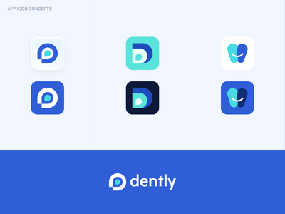 Dently – Dentist App Branding simple sleek light clean logo design app icon app logo variations concepts minimalistic color scheme typeface ux modern dentist branding logo