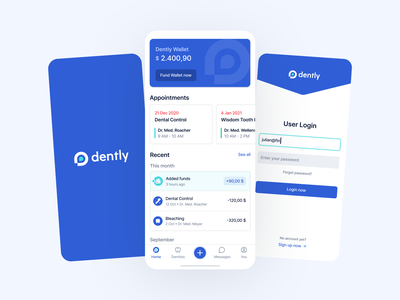 Dentist App – Dently logo splash inputs usability user centered icons neomorphism minimal simple modern wallet dashboard login ux ui user experience ios screen app dentist