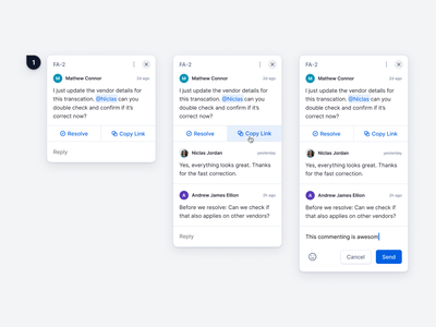 Commenting Feature – Finance Operations Platform resolve pin chat conversation budget user centered user interface interaction boxes cards commenting finance saas finance operations modern light clean minimal ux ui