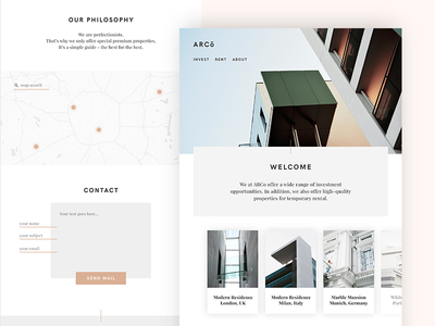 ARCo – Landingpage website webdesign ux ui sleek simple modern minimalistic minimal light flat clean