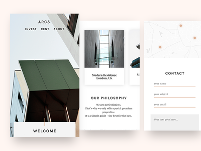 ARCo – Mobile Website website ios ux ui sleek simple modern minimalistic minimal light flat clean