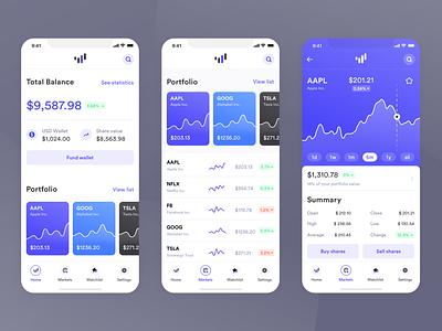 Investment Platform App interface invest investments fintech app ios sleek modern ux minimal light ui
