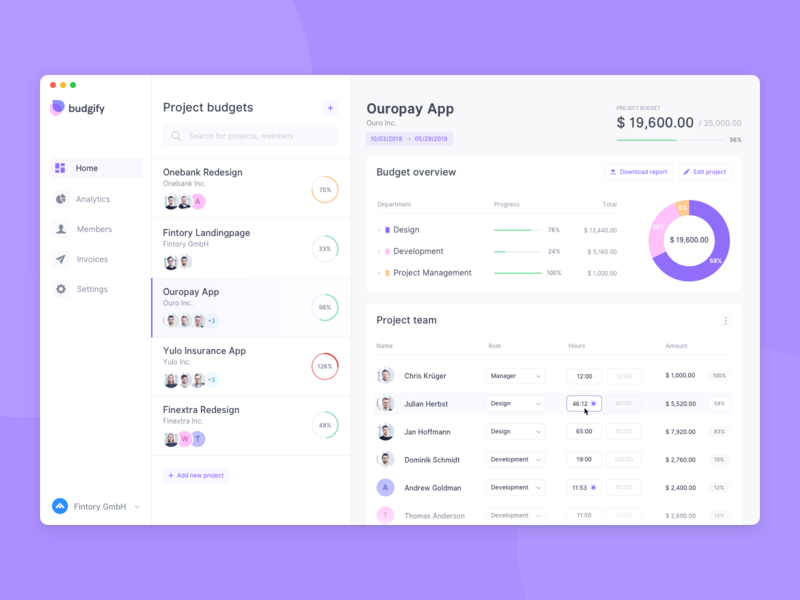 Budget Planner App – Dashboard by Julian Herbst for Fintory