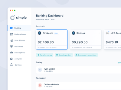 Online Banking – Application intuitive minimal light simple modern webapp website fintech online banking cards ui ux interface app design web