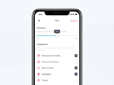 Coupon App – Map Filter