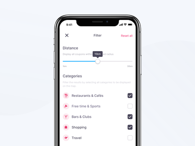 Coupon App – Map Filter mobile coupon user experience simple checks slider categories map filter ios ux minimal light ui