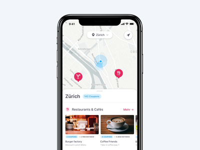 Location Switcher – Coupon App list minimal interaction application app map dropdown switcher location animation clean ux ui
