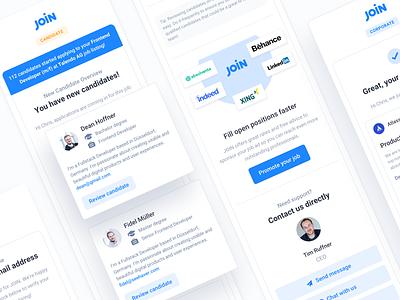 Hiring Platform E-Mail Templates product hiring platform user interface responsive vector module shadow button blue clean design illustration mobile flat modern minimal ux ui