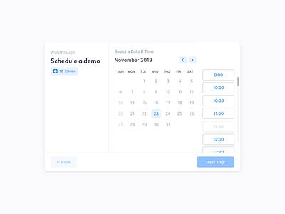 Schedule Demo Exploration animation scheduling indicators fields modal window interaction web inputs flow design modern clean light ux minimal ui