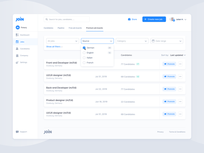 Job Ad Dashboard – Hiring Platform interaction dropdown minimal modern website webapp user interface interface ui ux process hiring job dashboard clean board