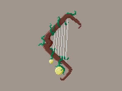 Harp Bow game weapon pixel art fantasy bow harp