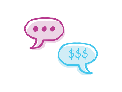 A little Conversation illustration vector iconography icon