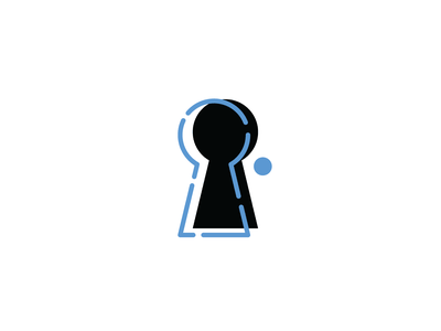 Keyhole key line branding logo identity keyhole icon vector