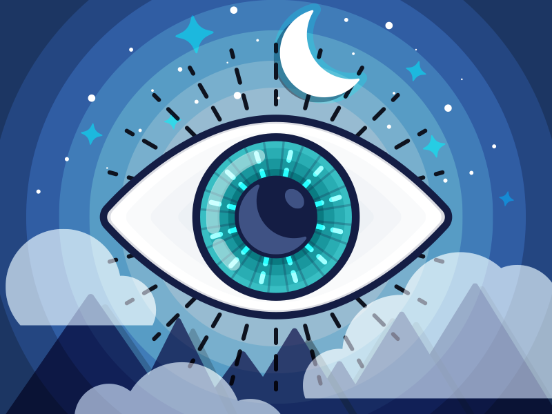 Dreamer sketch illustration illustrator vector clouds mountains moon eye archetype dreamer