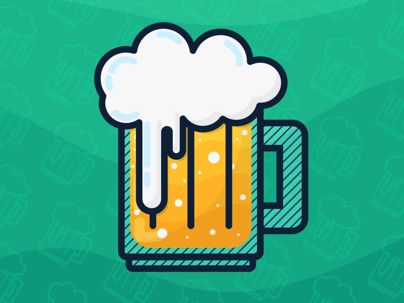 Beer icon happy hour drink beverage brew alcohol brewing beer flat illustration illustrator vector