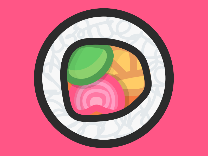 Sushi icon roll japan foodie food illustration illustrator vector flat sushi