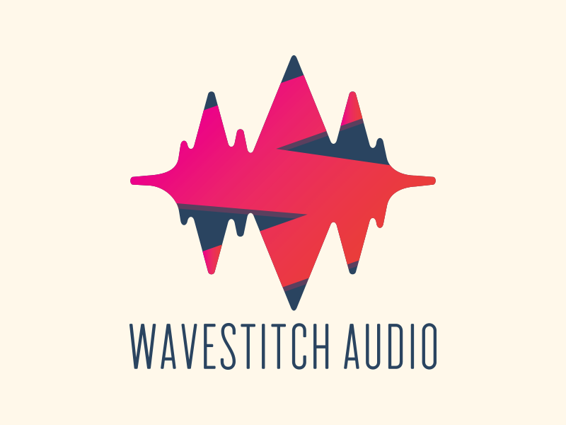 Wavestich Audio vector waveform logotype stitch identity branding music audio wave type icon logo