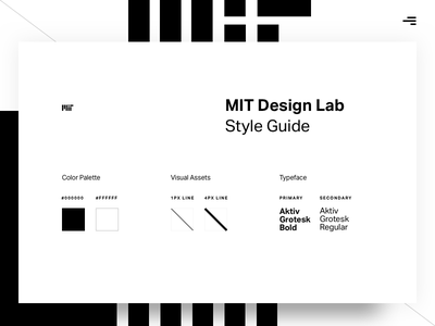 MIT Design Lab Style Guide mit design ui typeface style kit heirarchy style guide typography colors