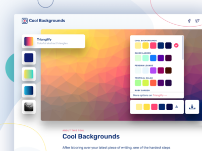 Side Project Launch: Cool Backgrounds single page animation javascript side project